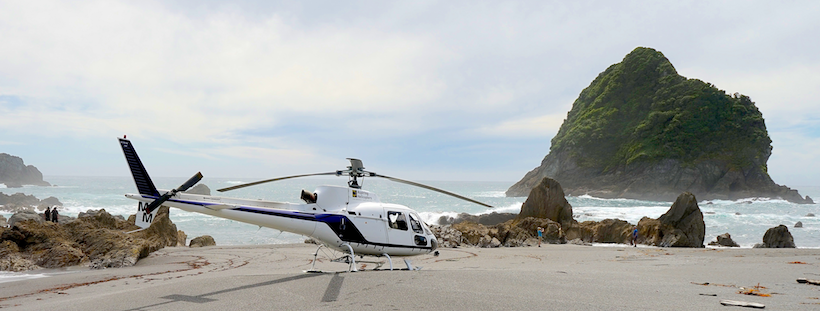 Helicopter landing West Coast Beach